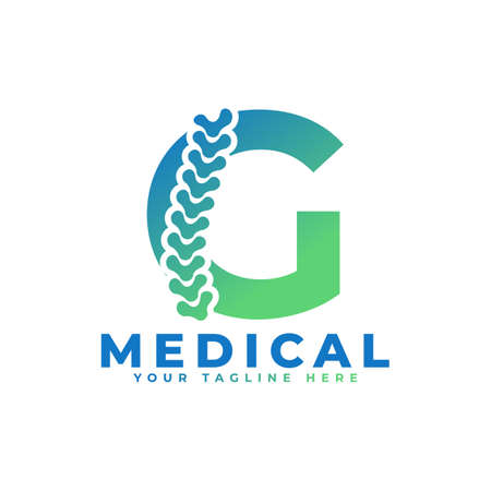 Illustration pour Letter G with Icon Spine Logo. Usable for Business, Science, Healthcare, Medical, Hospital and Nature Logos. - image libre de droit