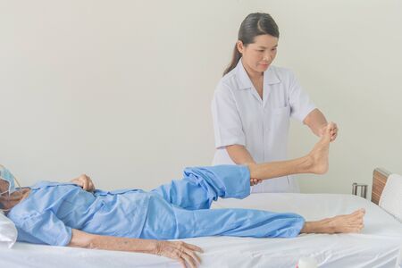 physical therapy Old patient bed Home treatment. Close care.
