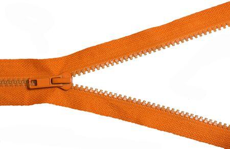 Photo pour Orange zipper on white background - image libre de droit
