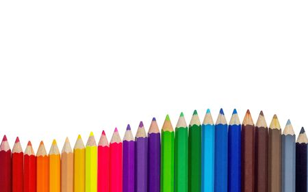 Foto de Color pencils wave on white background - Imagen libre de derechos