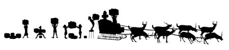 silhouette of Santa's elves loading sleigh with reindeer