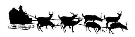 silhouette of Santa in sleigh with reindeer