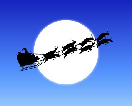 silhouette of Santa's sleigh across moon