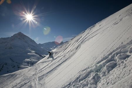 Freeskier in fresh powder near Innsbruck, Austria