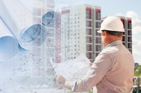 Foto de Collage with construction plans and an engineer examining blueprints - Imagen libre de derechos