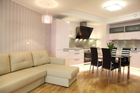 Beautiful modern kitchen with modern lighting, interior