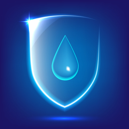 Transparent blue glass shield icon with water drop