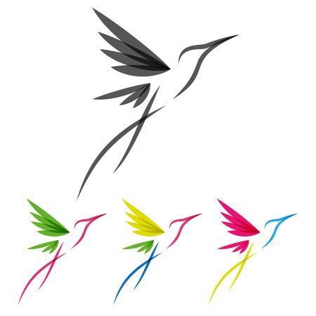 Ilustración de Vector Colored Stylized Tropical Hummingbirds Template for Icon Design - Imagen libre de derechos