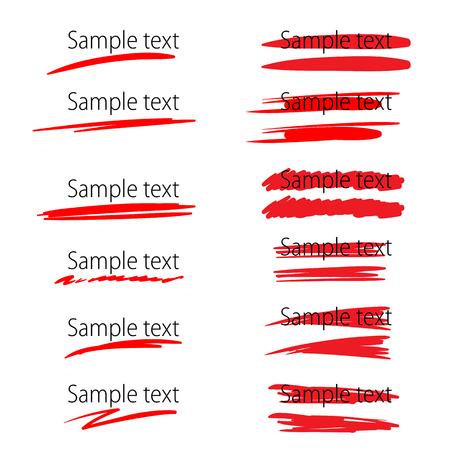 Ilustración de Set of vector highlighter marker strokes for text accentuation - Imagen libre de derechos