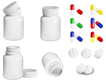Bottle for medicines and set of various pills and tablets