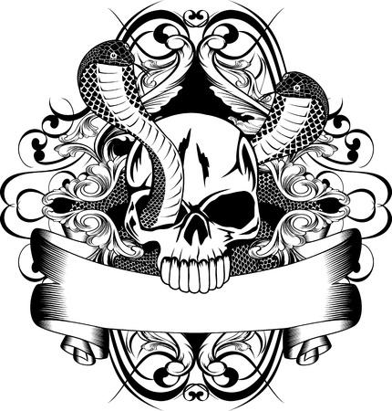Vector illustration skull and two snake