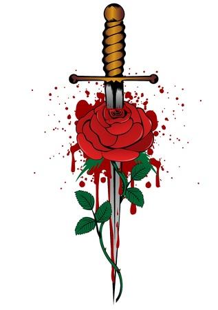 Vector illustration rose and dagger