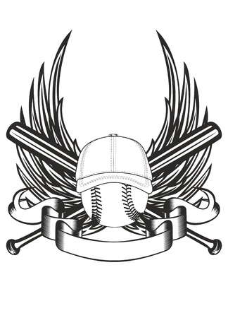 illustration ball in baseball cap and crossed bats