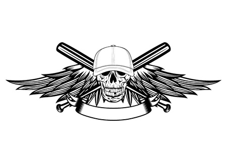 The image skull in baseball cap and wings