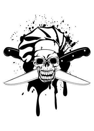 illustration skull in toque and crossed knifes