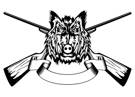 Vector  illustration head wild boar and crossed guns