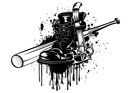 Vector illustration bat, boot, knife and knuckleduster