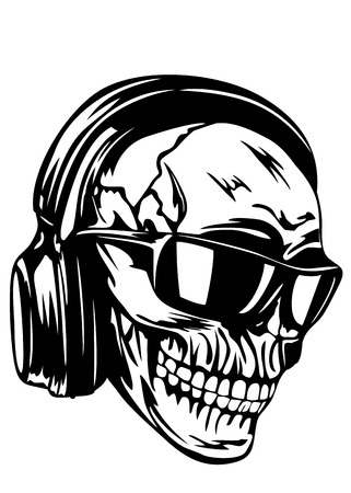 Vector illustration human skull with headphones and sunglasses