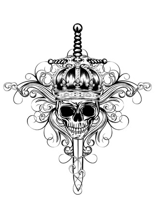 Vector illustration skull in crown, patterns and crossed swords