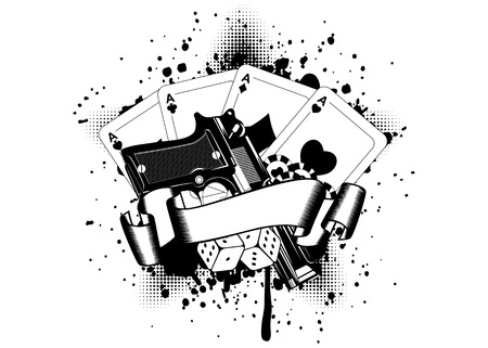 Grunge background pistols and playing cards dice chips