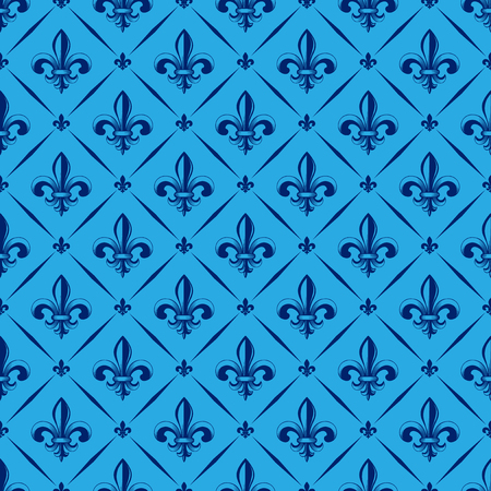 Vector illustration blue seamless background with lily (fleur de lis) for print fabric or poster