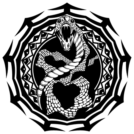 Illustration pour Abstract vector illustration black and whide snake with open mouth on round ornament. Design for tattoo or print t shirt. - image libre de droit