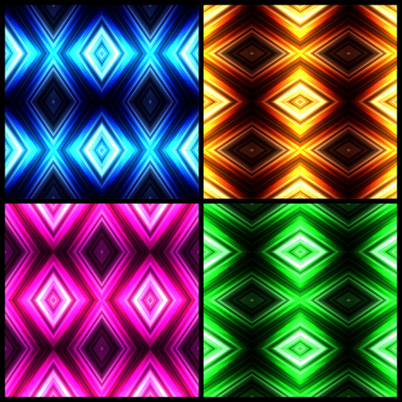 Vector illustration different color glowing seamless background set for greeting card, postcard, business card or poster