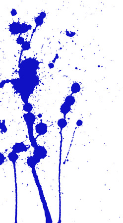 Ink splash, stains, strokes and blots. Paint Splatter Background. Blue and white vector illustration. Abstract grunge template.