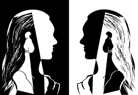 Illustration pour Two girls with long hair looking at each other. Black and white vector illustration. Silhouette of woman head. Profile of a beautiful young girl. Fashion concept. Geometrical abstract drawing. - image libre de droit