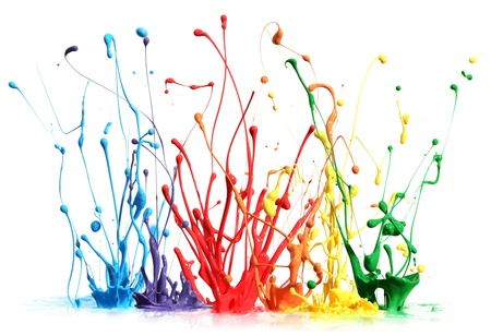 Foto de Colorful paint splashing isolated on white - Imagen libre de derechos