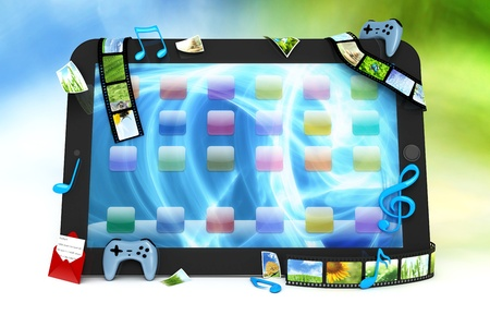 Tablet computer with movies, music, and games