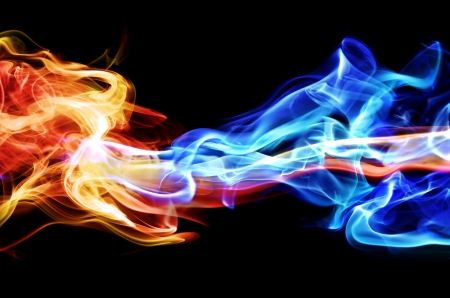 Red and blue smoke