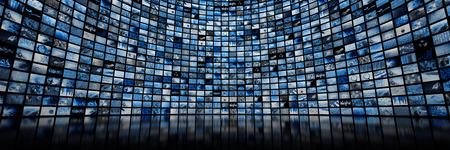 Photo pour Giant multimedia video and image wall - image libre de droit