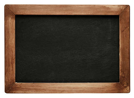 Photo pour Old vintage chalkboard with worn wooden frame. Blank empty blackboard with space for text. - image libre de droit