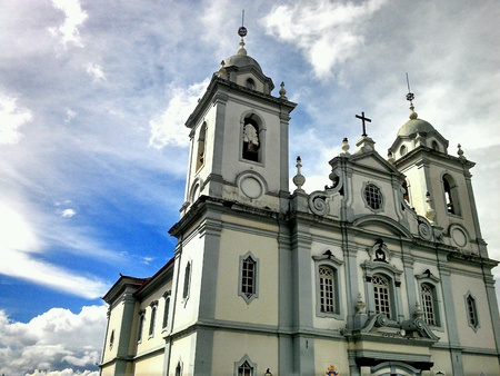 Catholic church in a cloudy day, in Brazil