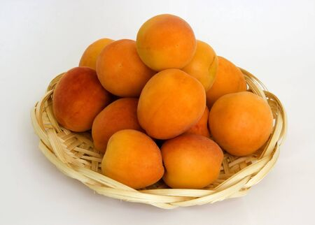 ripe apricots in the wattled small basket from the arboreal shavings