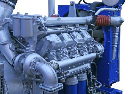 Close up shot of silver chrome engine