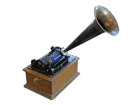 edison phonograph isolated on white