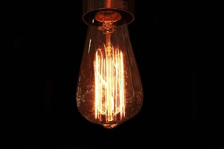 Photo for Retro style incandescent lamps. Light bulb in the dark. - Royalty Free Image