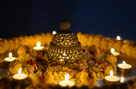 Traditional Indian earthen lamp during Diwali