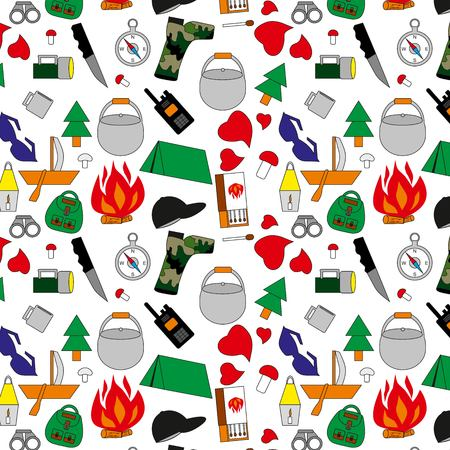 pattern with tent, objects for tourism, the boat with a sail, forest mushrooms, a tree a fir-tree, a kettle for food, a hunting knife, camouflage boots, the inflamed fire, a lamp from candles, an electric small lamp, pattern set, dark glasses, boxes of ma