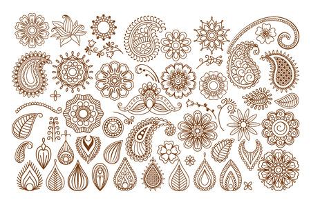 Illustration pour Henna tattoo doodle vector elements on white background - image libre de droit