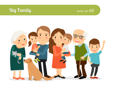 Photo pour Big family portrait. Mom and Dad, grandparents, children, and a dog - image libre de droit