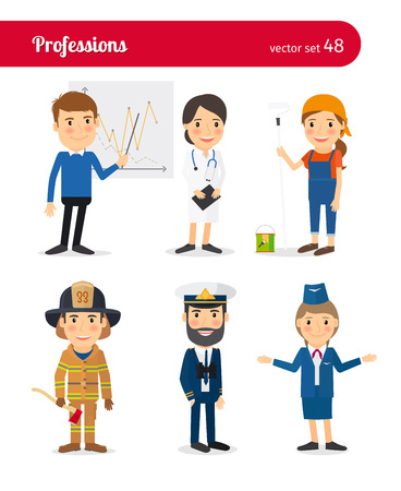 People professions. Medical doctor and flight attendant, firefighter and sea captain