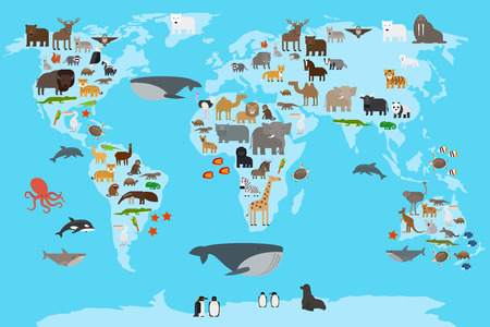 Animals world map. Animals living in different parts of the planet guide. Vector illustration.