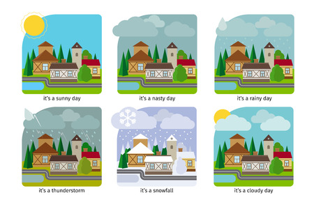 Different weather in the town. Sun rain and thunderstorm. Vector illustrations.
