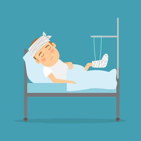 Man with broken leg cartoon illustration. Hospital care. Accident consequences. Vector illustration.