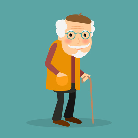 Ilustración de Old man with glasses and walkins cane. Vector character on blue background. - Imagen libre de derechos