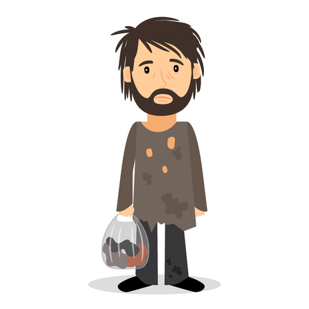 Illustration pour Homeless. Shaggy man in dirty rags and with a bag in his hand. Vector illustration. - image libre de droit