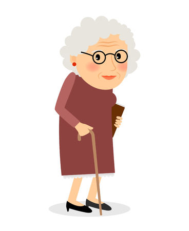 Foto per Old woman with cane. Senior lady with glasses walking. Vector illustration. - Immagine Royalty Free